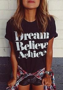 Schwarz Dream Believe Achieve Schrift Rundhals Kurzarm Beiläufige T-Shirt Damen Top Oberteile Günstig