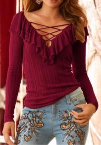 Burgundy Lace-Up Ruffle Cut Out V-neck Long Sleeve Fashion T-Shirt