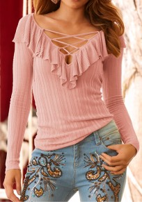 Pink Lace-Up Ruffle Cut Out V-neck Long Sleeve Fashion T-Shirt