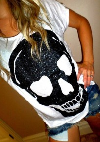 White Skull Print Round Neck Short Sleeve Casual T-Shirt
