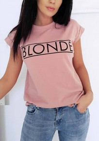 Pink Letter Print Round Neck Short Sleeve Casual T-Shirt