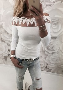 White Patchwork Lace Boat Neck Long Sleeve Fashion T-Shirt