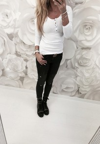 White Patchwork Lace Buttons Round Neck Long Sleeve Fashion T-Shirt
