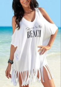 White Monogram Print Tassel V-neck Elbow Sleeve Fashion T-Shirt