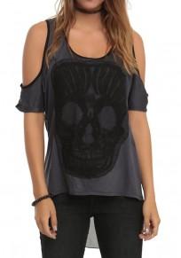Black Skull Cut Out Irregular U-neck Short Sleeve T-Shirt