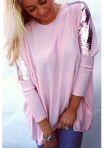 T-shirt avec paillettes col rond chauve-souris lâche décontracté mode femme haut rose