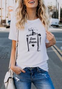 Weiß Parfüm Flasche Druck Rundhals Kurzarm Beiläufige T-Shirt Damen Oberteile Günstig