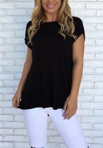 Black Cross Back Cut Out Round Neck Fashion T-Shirt