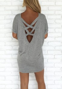 Grey Cross Back Cut Out Round Neck Fashion T-Shirt