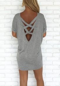 Camiseta espalda cruzada corte cuello redondo moda gris