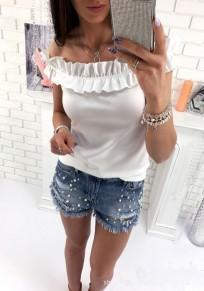 Weißes Rüschen Boot-Hals-Mode T-Shirt