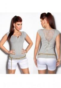 Graue Flickwerk Spitze Knöpfe Reißverschluss V-Ausschnitt Mode T-Shirt