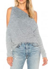 Grey Plain Cut Out Irregular Asymmetric Shoulder Fashion T-Shirt