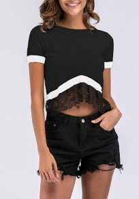 Camiseta midriff de encaje irregulares cuello redondo moda negro