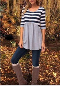 Grey Striped Draped Round Neck Casual Going out T-Shirt