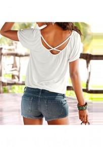 White Cross Back Round Neck Short Sleeve Casual T-Shirt