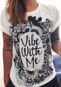 White Monogram Print Short Sleeve Round Neck Casual T-Shirt