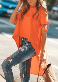 Orange Cut Out Draped Swallowtail High-low Flowy Going out Casual T-Shirt