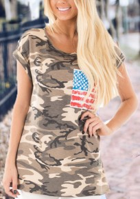 Yellow Camo American Flag Print Pockets Cargo Independence Day Casual T-Shirt