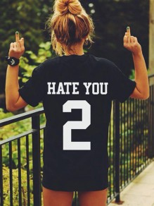 T-shirt hate you slogan imprimée col ronde manches courtes mode femme top noir