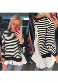 White Irregular 2-in-1 Round Neck Long Sleeve Fashion T-Shirt