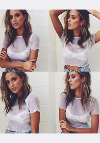 White Bright Wire Crop Round Neck Short Sleeve Fashion T-Shirt
