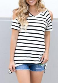 T-shirt mariniere épaules fendues v-cou manches courtes décontracté mode femme haut blanc