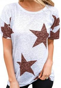 Red Star Print Round Neck Casual Boyfriend T-Shirt