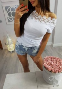 White Mosaic Pearl Lace Cut Out Off Shoulder Going out Sweet T-Shirt