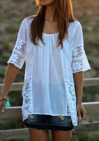 Weißes Flickwerk Spitze gefaltetes EllenBogen Hülsen Rundhals beiläufiges T-Shirt