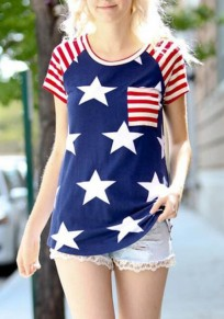 Blue American Flag Print Pockets Independence Day Short Sleeve Casual T-shirt