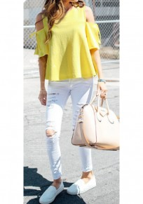 Yellow Ruffle Cut Out Bow Slit Plus Size Going out Casual T-Shirt