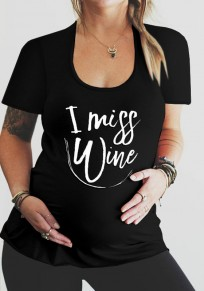 Black Monogram Print Round Neck Plus Size Maternity Casual T-Shirt