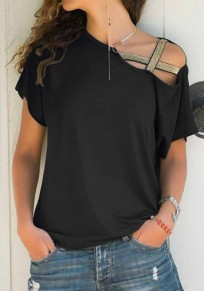Black Patchwork Cut Out Short Sleeve Casual T-Shirt