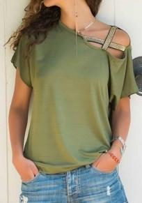 T-shirt découpess sans manches courtes décontracté vert armée