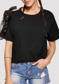 Black Bow Ribbons Short Sleeve Round Neck Casual T-Shirt