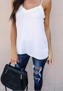 T-shirt dentelle bretelle dos nu v-cou occasionnel blanc