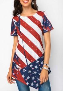 Blau American Flag Drucken unregelmäßigen Unabhängigkeitstag Rundhals Kurzarm Beiläufig T-Shirt