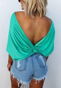 T-shirt dos nu plissé col ronde manches au coude mode haut vert turquoise femme