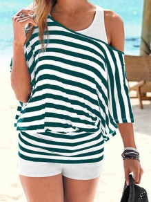Green Striped Cut Out Round Neck Elbow Sleeve Casual T-Shirt