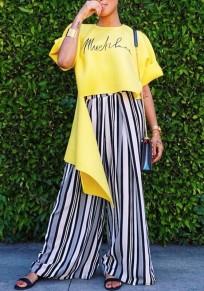 Yellow Monogram Print Irregular High-Low Casual Fashion T-Shirt
