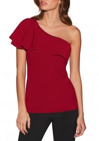 Red Ruffle Asymmetric Shoulder Short Sleeve Casual T-Shirt