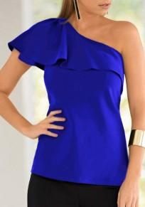 Blue Ruffle Asymmetric Shoulder Short Sleeve Casual T-Shirt