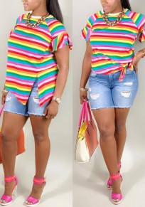 Pink Striped Slit Ruffle Irregular Rainbow Knot Bell Sleeve Sweet Casual T-Shirt