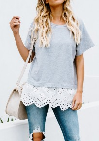 Grey Patchwork Lace Cut Out Round Neck Casual T-Shirt
