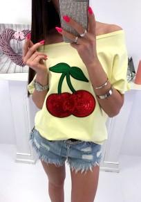 Camiseta lentejuelas cuello redondo manga corta casuales amarillo