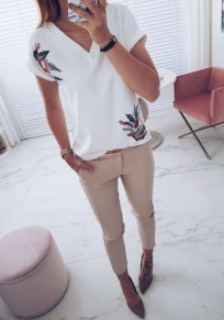 White Floral Print V-neck Short Sleeve Sweet T-Shirt