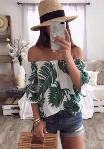Weiß Blätter Blumen Boot-Ausschnitt Off Shoulder Kurzarm Mode Sommer Blusen Damen Oberteile Top