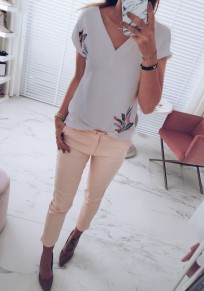 Grey Floral Print V-neck Short Sleeve Sweet T-Shirt