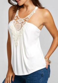 White Lace Patchwork Collarless Round Neck Sleeveless T-Shirt